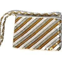 Tri Color Glass Bead Purse by Magid Gold Silver and White Evening Bag Made Hong Kong