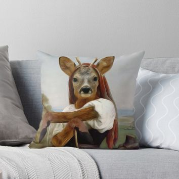 'Dearest Deer Shepherdess' Throw Pillow by Gravityx9