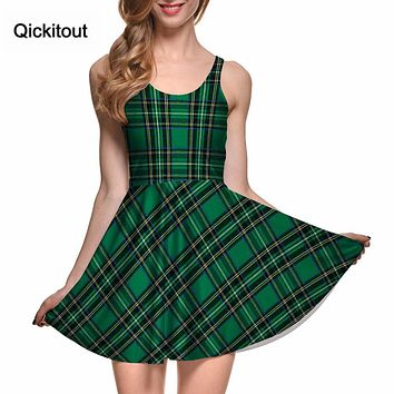 Drop Ship Fashion Women Casual Work Dresses Fit and Flare Digital Printing TARTAN GREEN REVERSIBLE SKATER DRESS Vestidos Sexy