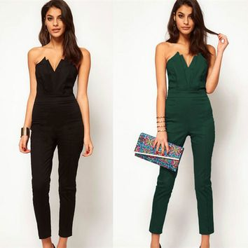 2017 Casual Women One Piece V-neck Jumpsuits Sleeveless Backless Bodycon Off the Shoulder Long Pant Sexy Rompers Female Playsuit