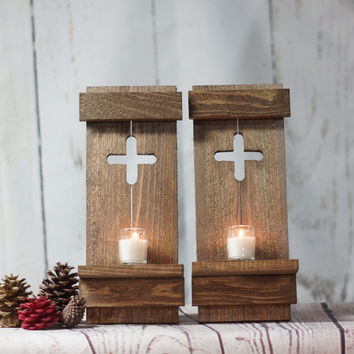 TWO Rustic Wall Sconce - Reclaimed Wood Wall Cross