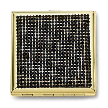 Gold-tone Jet Black Crystals Compact Mirror