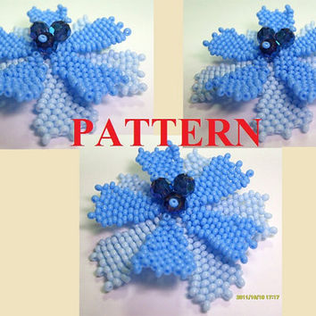 PATTERN Beaded blue flower brooch,beadweaving tutorial,beadwork instructions,beading patterns,PDF,Instant Download,Instruction,Flower pin