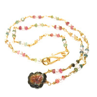 Carved Watermelon Tourmaline Flower Necklace Pearl Station Gemstone Jewlery Rainbow Tourmaline