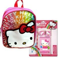 "HELLO KITTY Pink & Rainbow PVC 10 1/2"" x 8"" Mini Back Pack w/FREE Hello Kitty Sanrio 4 Piece School Study Set w/Pencil, Note Pad, Sharpener & Eraser"