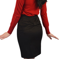 Atomic Apparel Black Bow Back Retro Pencil Skirt