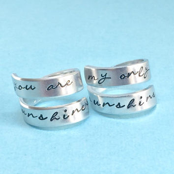 You are My Sunshine/My only Sunshine, Hand stamped Spiral Wrap Ring Set,Mother Daughter Family Gift