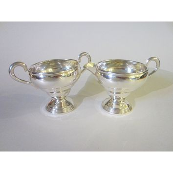 Empire Sterling Weighted Compote Cream Sugar Bowls W Hallmarks