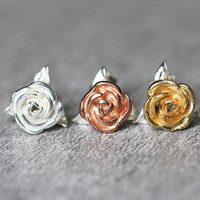 Gold Plated Rose Stud Earrings Sterling Silver by Fashnin.com