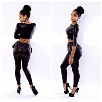 Black Faux Leather Long Sleeve Cropped Top and Pants