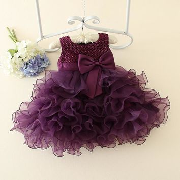 Hot Lace Flower Girls Wedding Dress Baby Girls Christening Cake Dresses For Party Occasion Kids Baby Girl Birthday Dress