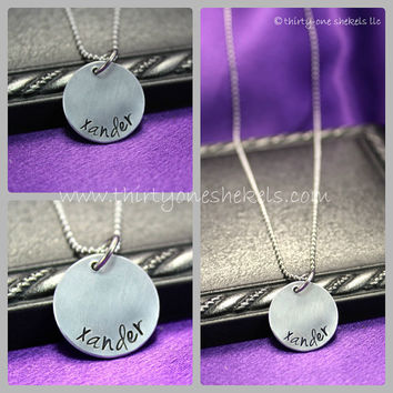 """Single Name 3/4"""" (Medium) - Custom Hand Stamped necklace personalized for you - perfect for mom or grandma"""