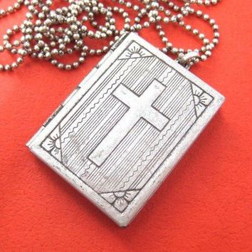 Bible Cross Shaped Locket Pendant in Silver | DOTOLY
