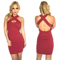 Better Together Bodycon Dress In Burgundy