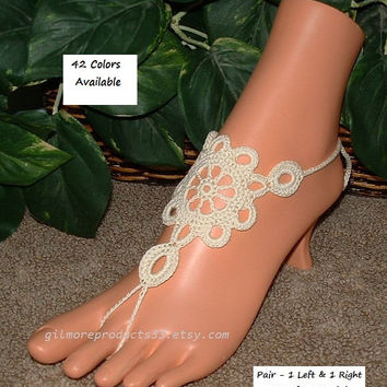 Pair Barefoot Sandals Wedding HIPPIE Clothes Beach Wedding Foot Jewelry Toe Rings Wedding Flats Beach Wedding Crochet Barefoot Wedding Shoes