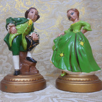 Valentine's Gift Idea - Vintage Holland Mold Figurines of Gentleman & Lady From Victorian or Colonial Era, With Green Period Attire