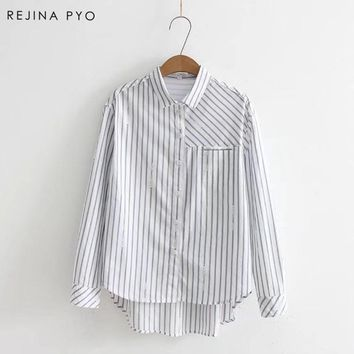 REJINAPYO Ladies Female Casual Cotton Long Sleeve Striped Shirt Women Slim Outerwear Blouse Tops Blusas Size Chemise Femme