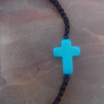 Macrame bracelet turquoise blue Cross Good Luck Bracelet Macrame Wave Bracelet,Pray,Men,Woman,Yoga Bracelet,Protection,Meditation