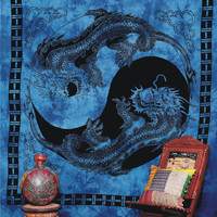 "Dragon - ""Yin Yang Dragon"" Tapestry, Indian Tapestry, Throw Dragon Bedspread Wall Hanging, Tablecloth Coverlet Bed-Cover, Dorm Bedding"