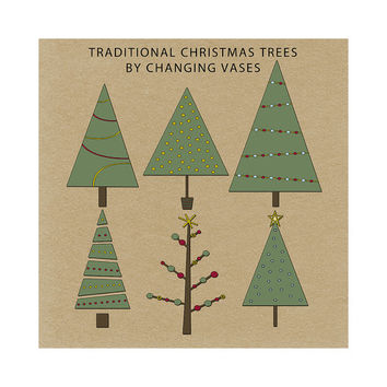 Instant Download, Digital Christmas Trees, Christmas Clip Art Collection Holiday Scrapbook Elements Burgundy Red Burgundy Green Gold
