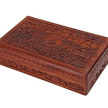 Wooden Jewelry Storage Box Jewelry Organizer Hand Carved From Rosewood