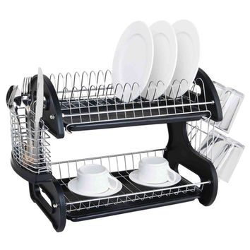 Sleek Contemporary Design 2-tier Black Dish Drainer | Overstock.com Shopping - The Best Deals on Dish Racks