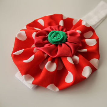 christmas headband red polka couture flower red white and green and for baby-newborn-toddler-child-girl-teen-adult