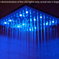 """ALFI brand LED5011-PSS 16"""" Square Polished Solid Stainless Steel Multi Color LED Rain Shower Head"""