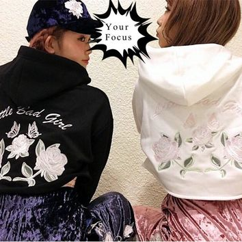 2017 japanese harajuku punk gothic vintage k-pop one spo pink rose and little bad girl embroidery hoodies women cropped tops