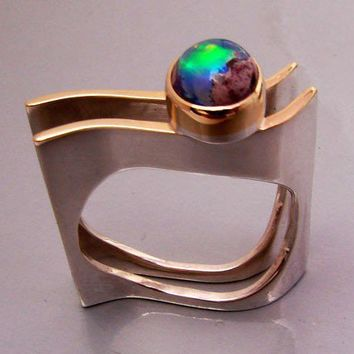 Wave Beauty Silver and Gold Ring with Mexican Opal by aboutjewelry