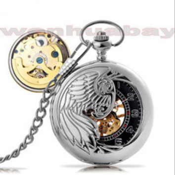 Luxury Antique Silver Phoenix Bird Necklace Hollow Automatic Mechanical Pocket Watch Vintage Silver Pocket Watch With Chain