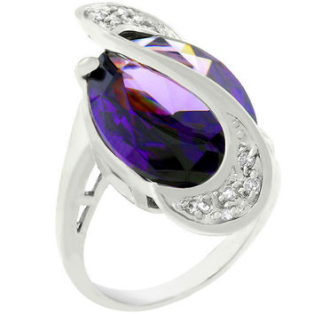 Pave Amethyst Purple Orbit Ring