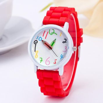 New style white case color silicone belt children watches pencil pointer watch fashion girls kids paint clock wholesale free