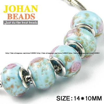 JHNBY 5mm Big Hole European Beads Fashion Sky blue Glass Bead 10pcs Round Loose beads Braclets Jewelry accessories making DIY