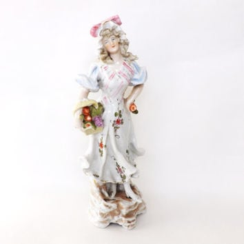 Antique Figurine, Victorian Porcelain Figure, Female Fruit Seller, Pretty Antique Maiden, Vintage Home Decor, Female Gift