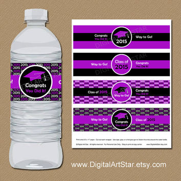 INSTANT DOWNLOAD Graduation Water Wrappers - DIY Printable Modern Water Bottle Labels - Class of 2015 Graduation Labels Purple and Black