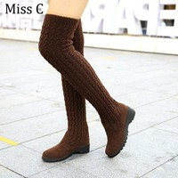 Knitted Women's Knee High Boots, Elastic Warm Long Thigh High Boot
