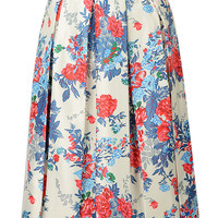 White Floral Printed Skirt