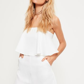 Missguided - White Double Layer Bandeau Romper