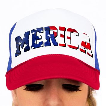 Merica Flag, American Flag, Trucker Hat, Snap-back, Patriotic, USA, 4th of July, Memorial Day, Red White and Blue, Unisex Hat, Baseball Cap