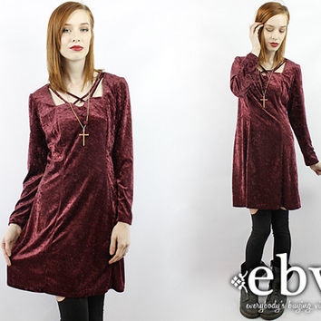 Vintage 90s Merlot Crushed Velvet Mini Dress M L 90s Grunge Dress Oxblood Dress Goth Dress 90s Mini Dress Babydoll Dress Club Kid Dress