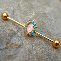 Gold Industrial Barbell Fire Opal Center Turquoise 14ga Body Jewelry Ear Jewelry Double Piercing Feathers