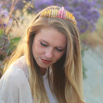 Aura Crystal Crown // Mermaid Crown - Mermaid Jewelry // Festival Clothing - Festival Accessories // Boho Jewelry - Bridal Hair Piece