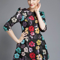 Floral Half Sleeve A-Line Mini Dress