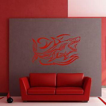 Wall Stickers Shark and Waves Ocean Predator Marine Art Mural Vinyl Decal Unique Gift (m288)