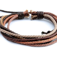 Handmade Hemp Bracelet Shades of Brown Surfer Tribal Men's Women's Friendship Braclet HB-11
