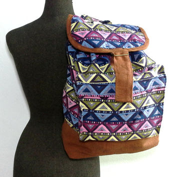 Teen Girl School Backpack, Handmade Canvas Drawstring Backpack, Hippie Hipster backpack, Tribal Aztec backpack, Colorful Geometric backpack,