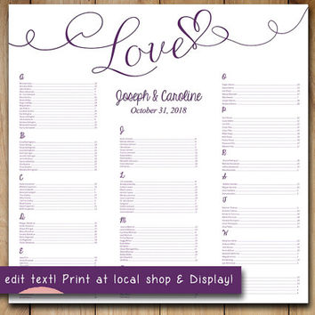"Wedding Seating Chart Template | Eggplant Plum Purple ""Love"" Heart Microsoft Word Template 