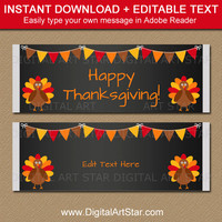 Thanksgiving Candy Favors - Thanksgiving Favors - Thanksgiving Candy Wrappers - Thanksgiving Party Favors - DIY Thanksgiving Printables