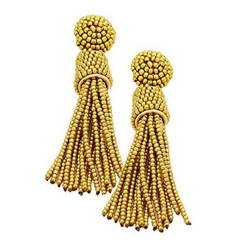 Gold Beaded Tassel Drop Dangle Earrings 348799